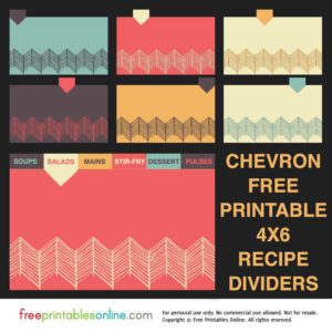 Chevron 4×6 Recipe Divider Cards