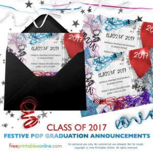 Festive Pop Printable 2017 Graduation Announcement