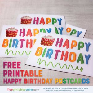 Folded Rainbow Text Happy Birthday Postcards