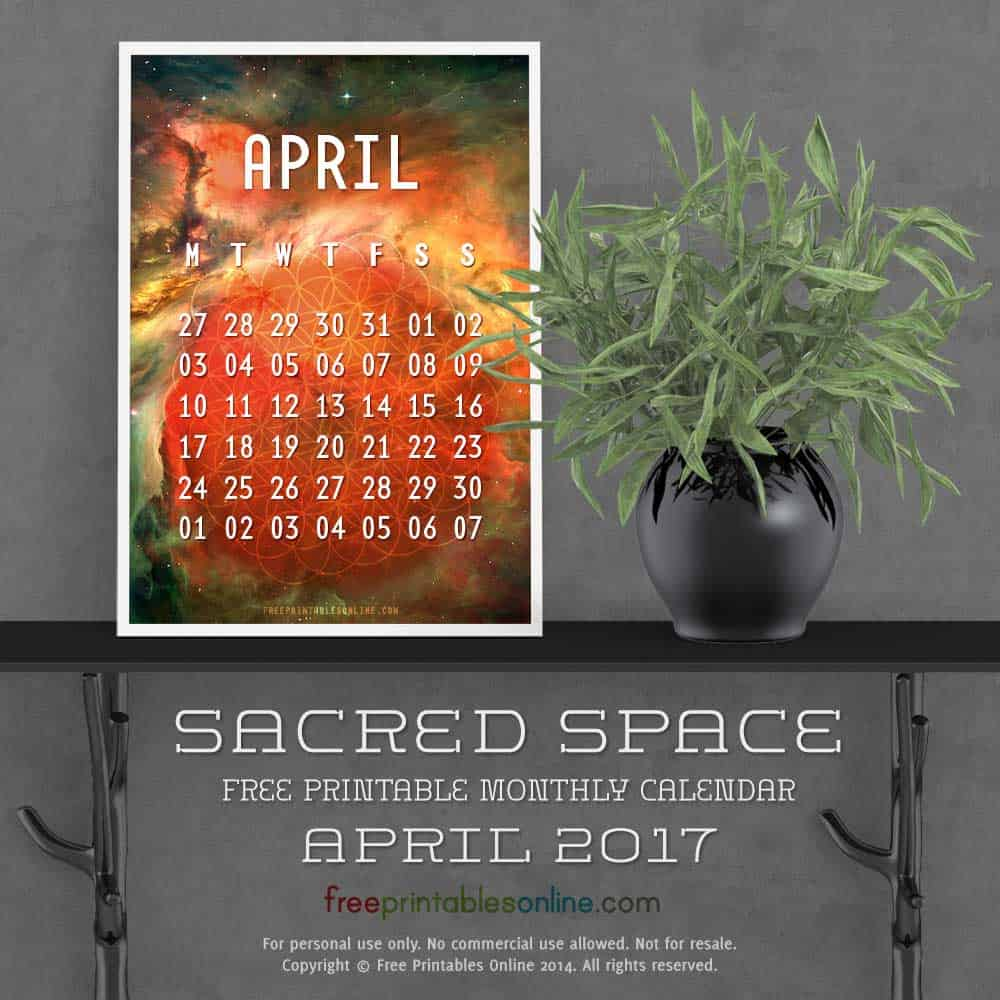 Outer Space April 2017 Calendar