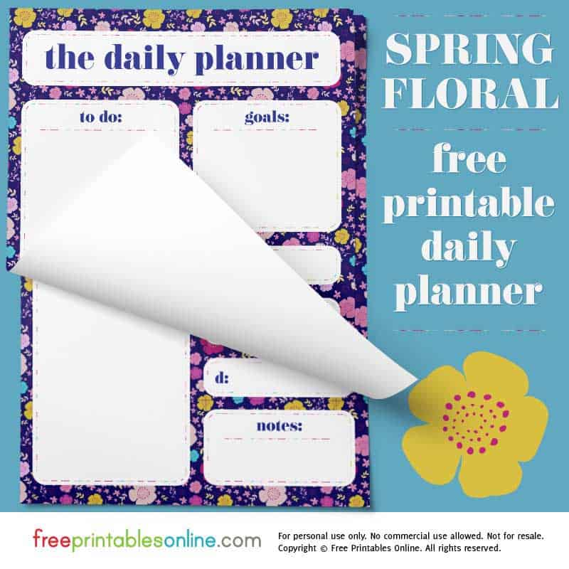 Spring Floral Printable Daily Page Planner