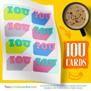 Retro Newsprint Psychedelic IOU Cards to Print