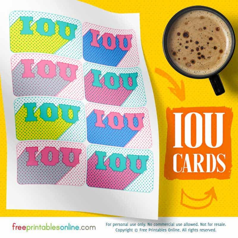 IOU Cards to Print