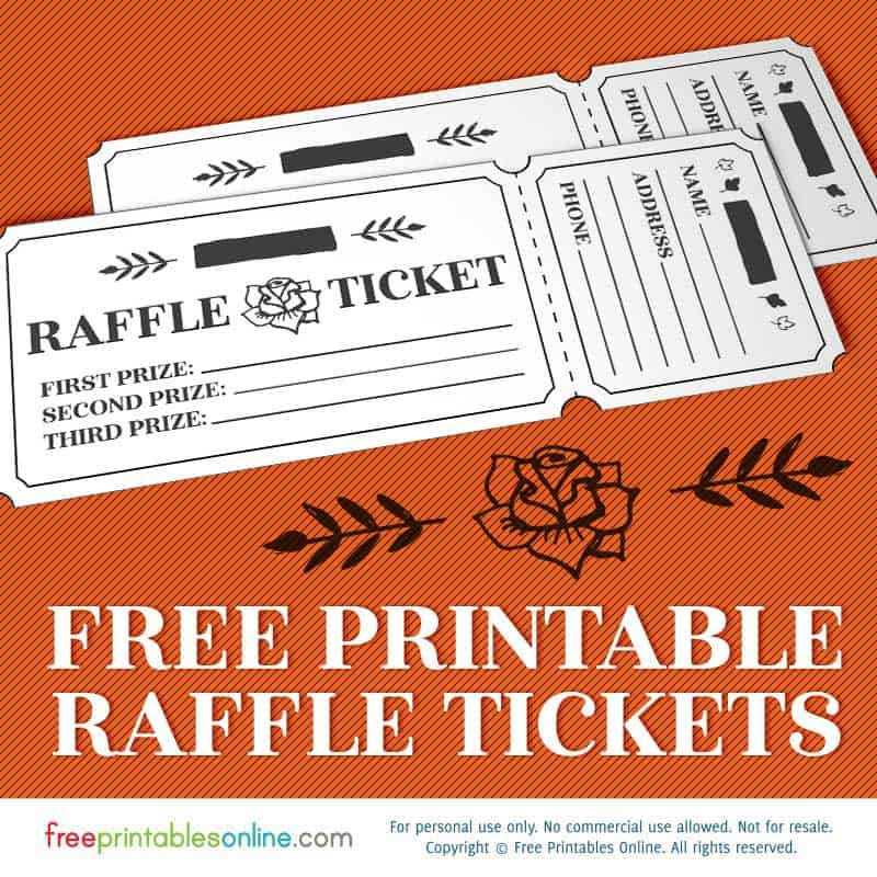 Printable rosy raffle tickets free raffle template free for Template for raffle tickets to print