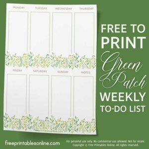 Green Patch Weekly To Do List Stationery