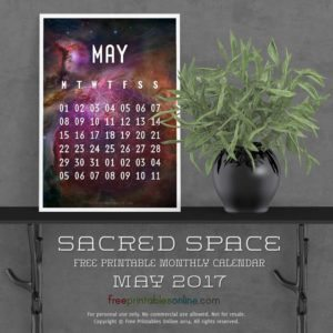 Sacred Outer Space May 2017 Calendar