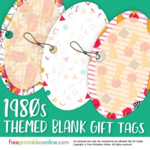 1980s Patterned Blank Printable Gift Tags