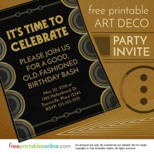 Time to Celebrate Art Deco Party Invite
