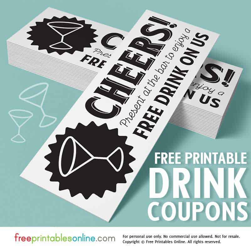 cheers free drink on us tickets free printables online