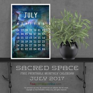 Sacred Outer Space July 2017 Calendar