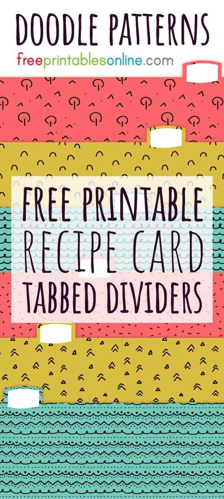 Recipe card box dividers