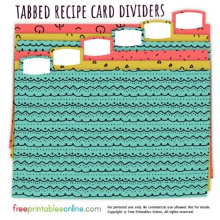 Doodle Patterns Recipe Card Box Dividers