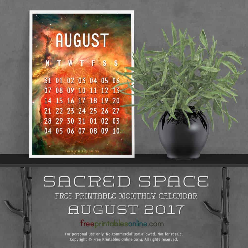 Outer Space August 2017 Calendar