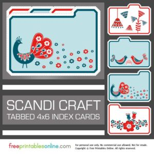 Printable Scandi Craft 4×6 Tabbed Index Cards