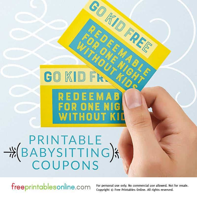 graphic about Babysitting Coupon Printable known as Shift Child Absolutely free Babysitting Coupon - Absolutely free Printables On line