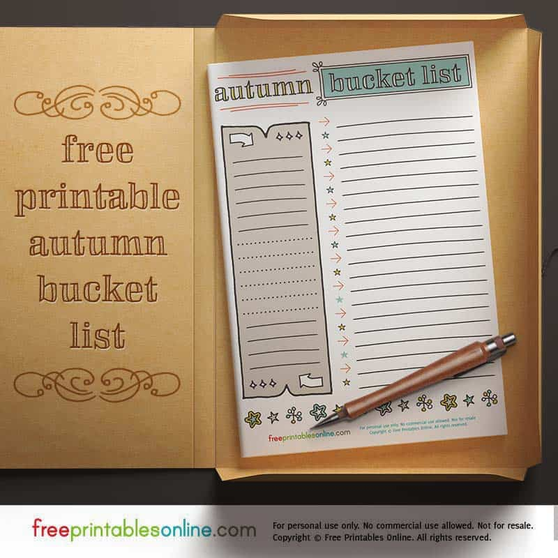 printable bucket list for fall