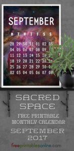 Sacred Outer Space September 2017 Calendar