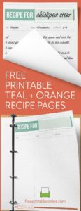 Teal + Orange Printable Full Page Recipe Template