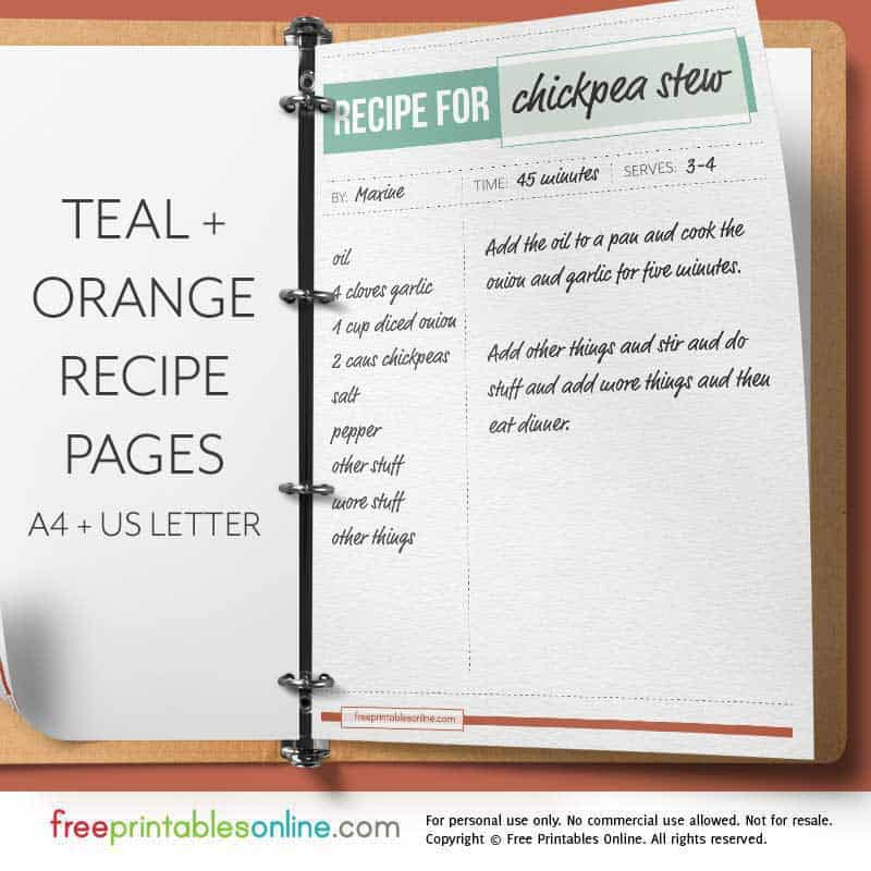 Teal Orange Full Page Recipe Template Free Printables