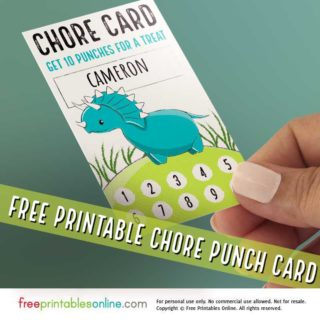 Dinosaur Chore Punch Cards