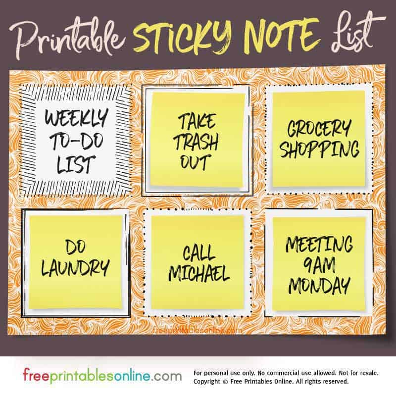 Sticky Note To Do List Template  Free Printables Online