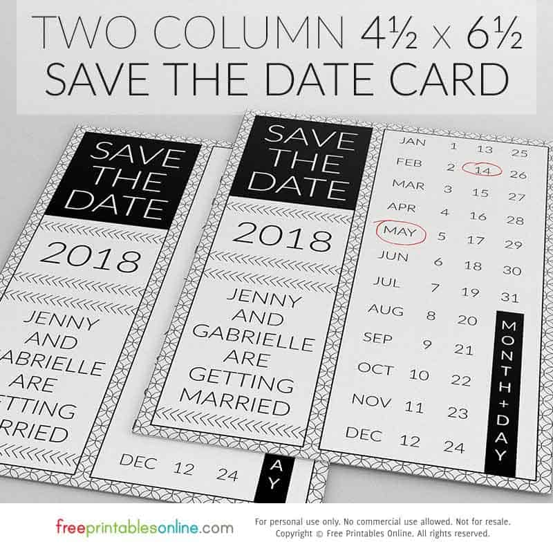 Two Column Save the Date Card
