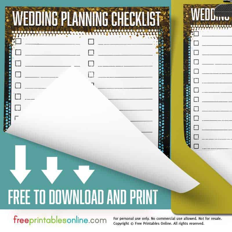 Free Printable Personalized Wedding Planning Checklist