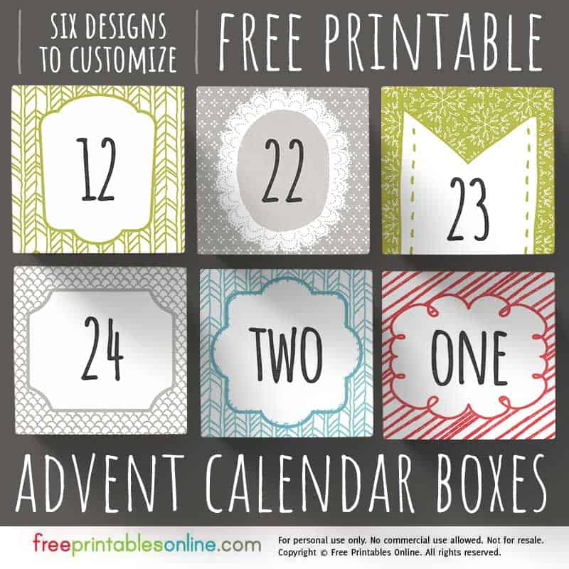 Printable Advent Calendar Boxes to Personalize