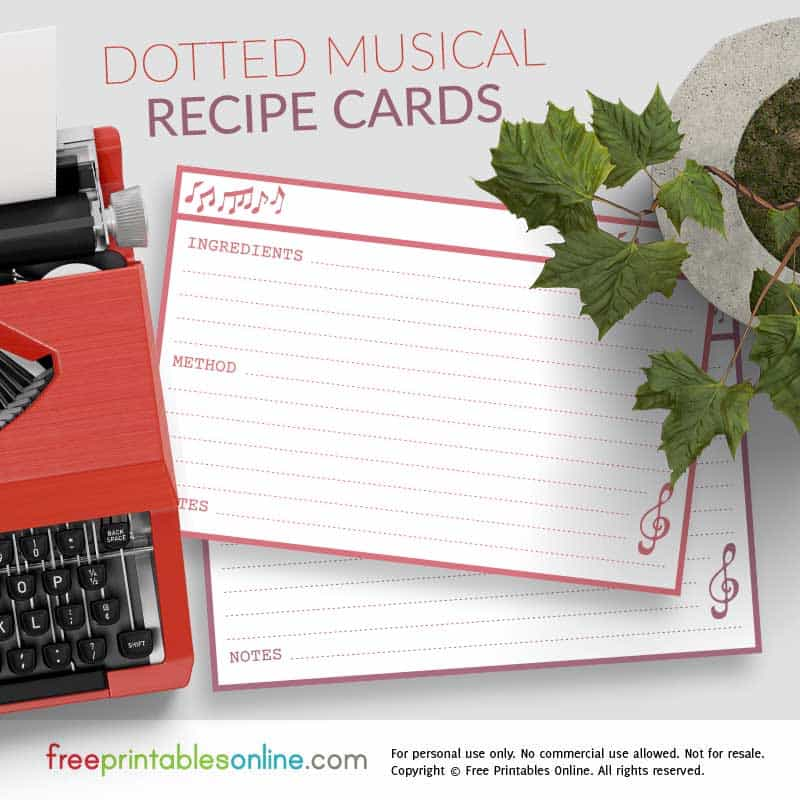 Dotted Line 4×6 Musical Recipe Cards