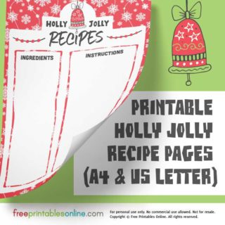 Holly Jolly Printable Christmas Recipe Pages