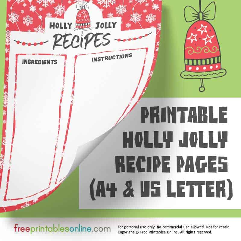 Holly Jolly Printable Christmas Recipe Pages (A4 and US Letter)