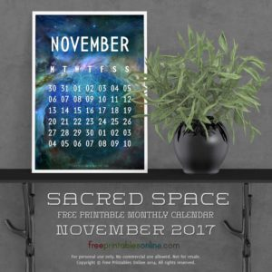 Sacred Outer Space November 2017 Calendar