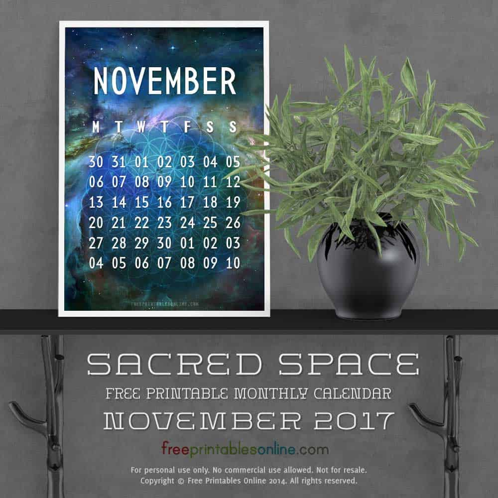 Sacred Outer Space November 2017 Calendar