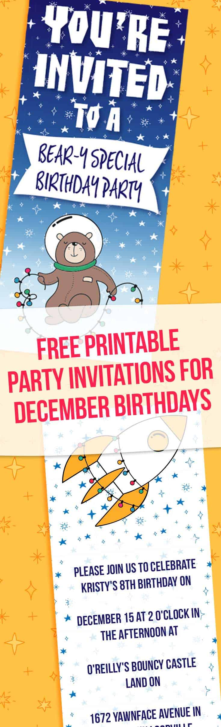 Space Themed December Birthday Party Invitation | Free Printables Online