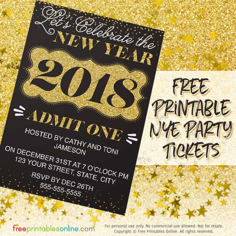 Gilded Gold 2018 New Year's Day Invitations