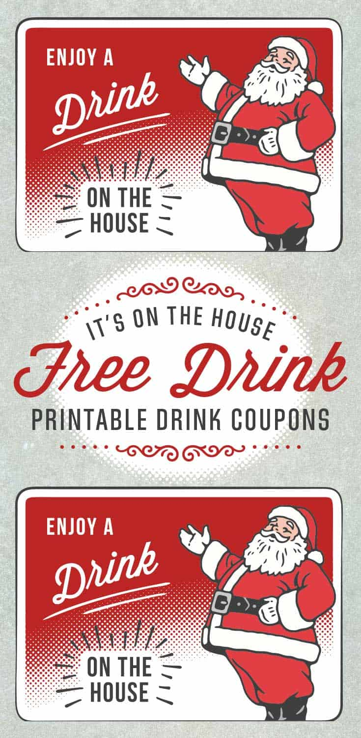 Santa holiday drink ticket template free printables online for Complimentary drink ticket template