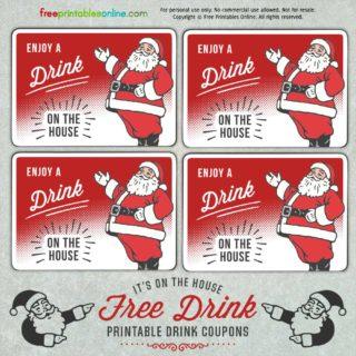 Santa Holiday Drink Ticket Template