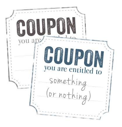 Discount coupons for the messy corner