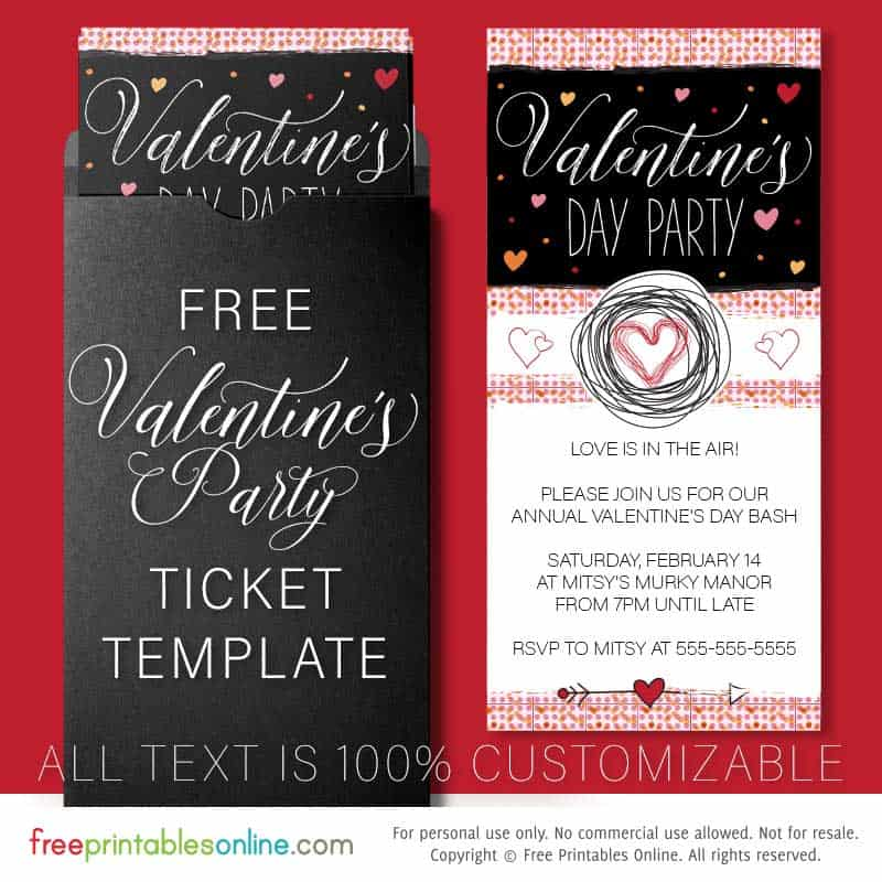 Free Printable Valentine's Day Party Invitation Template