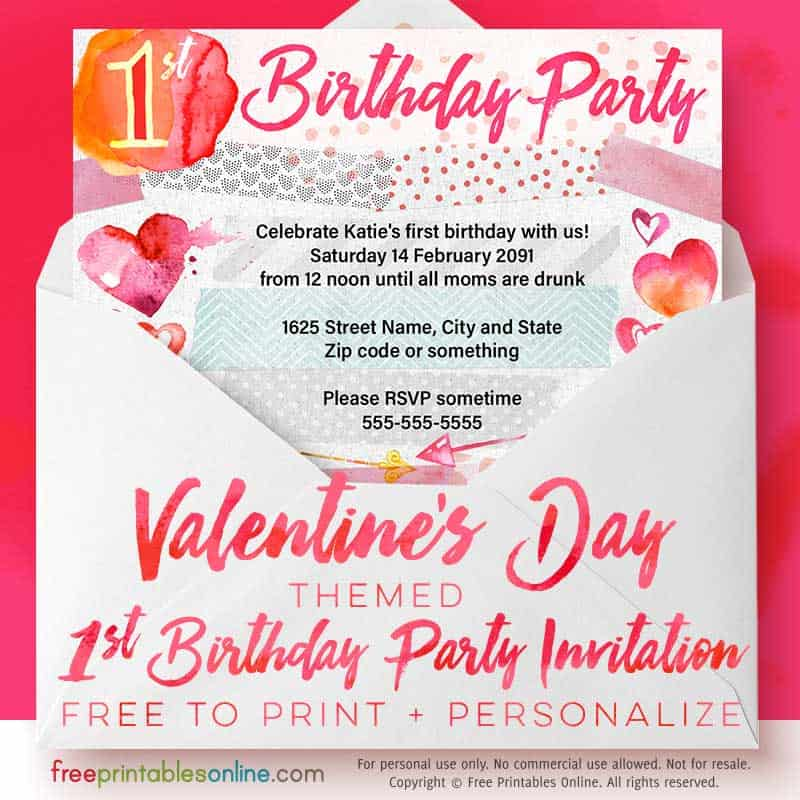 both the left and right sides of the first birthday invitation feature bright watercolor hearts the bottom of this free printable invite is lined with more