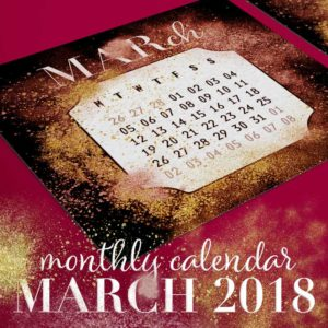 Gold & Red Dust Printable March 2018 Calendar