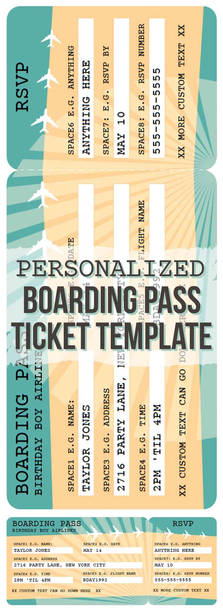 Printable Airline Boarding Pass Template | Free Printables ...