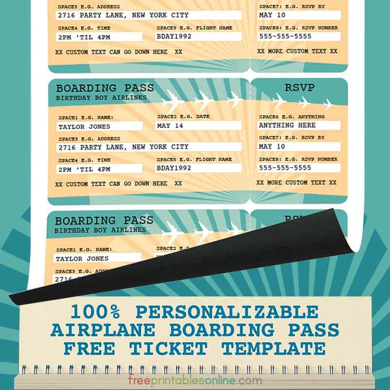 Printable Airline Boarding Pass Template  Free Printables Online