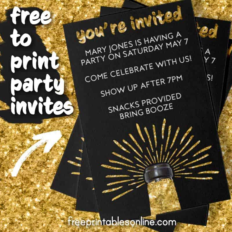 Champagne Business Card Party Invites | Free Printables Online