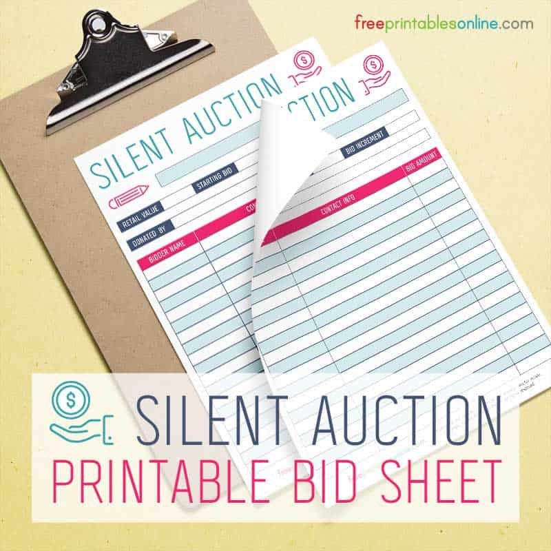 Silent auction bidding sheet free printables online for Auction bid cards template