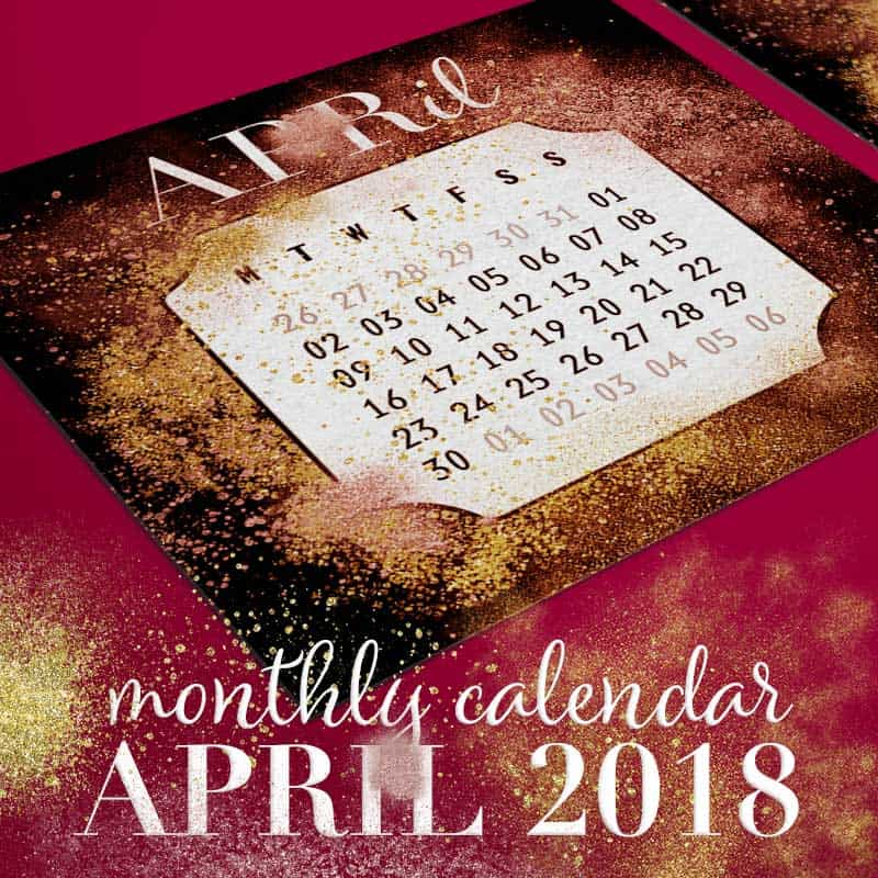Gold & Red Dust Printable April 2018 Calendar