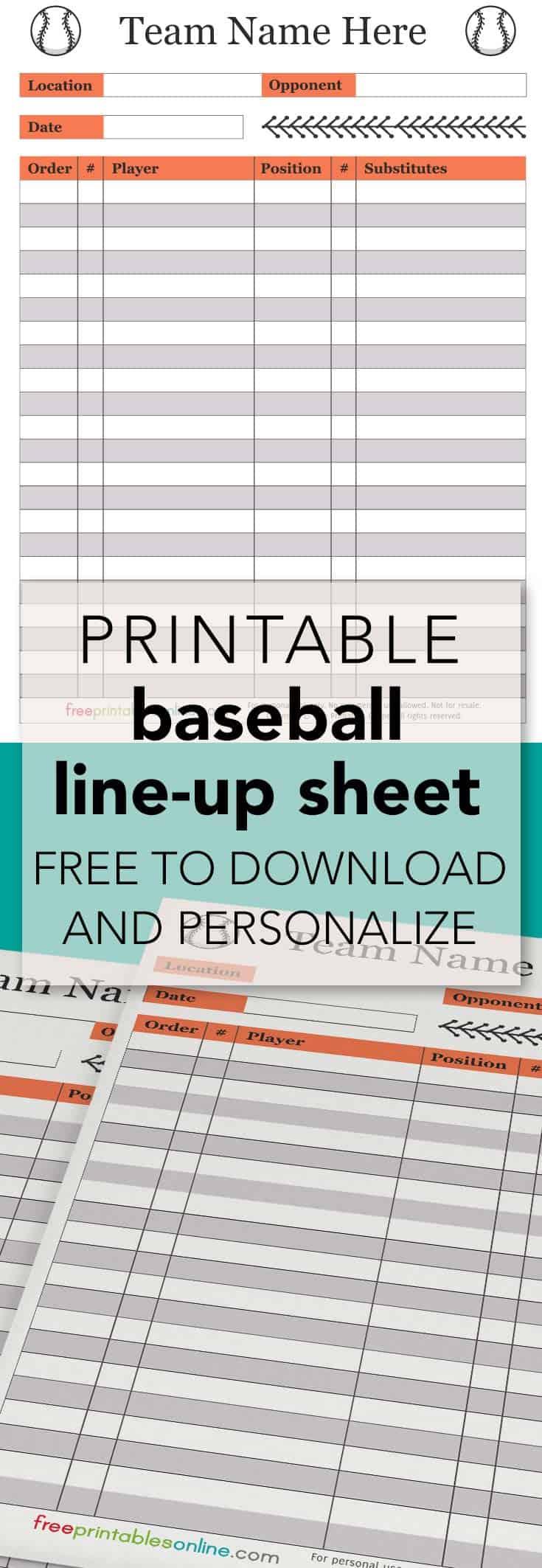 printable baseball lineup sheet