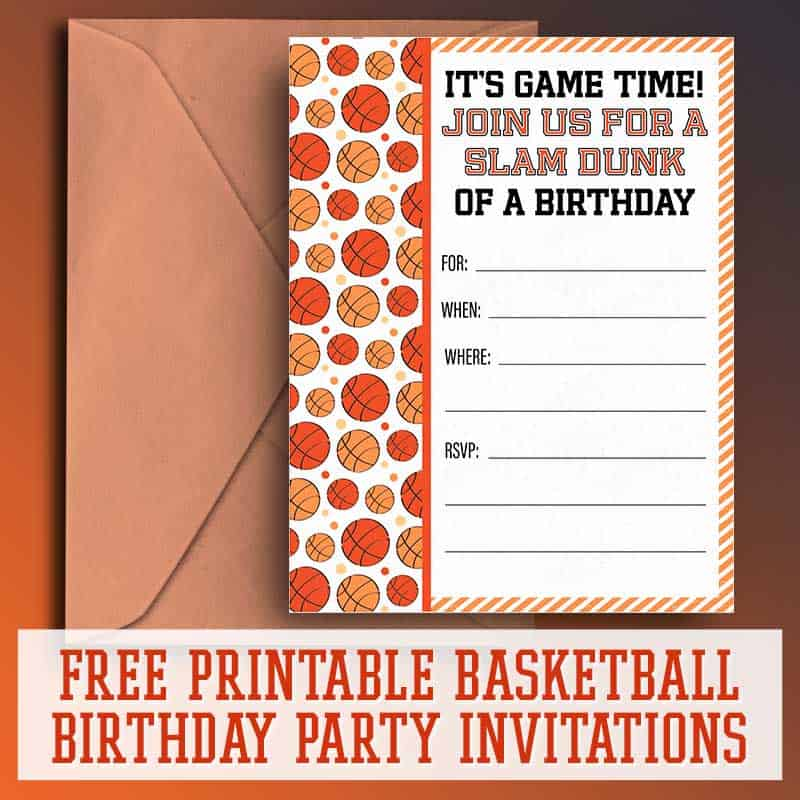 photo relating to Printable Basketball identified as Cost-free Printable Basketball Birthday Social gathering Invites - Totally free
