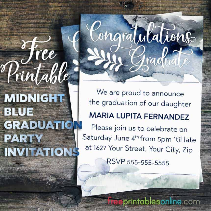 Midnight Blue Watercolor Congratulations Graduate Invitation