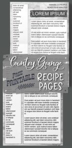 Country Grange Recipe Book Printable Pages